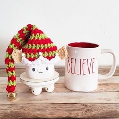 Elf Marshmallow Mug Hat Rae Dunn Inspired Christmas Winter Holiday Decor Farmhouse Kitchen Coffee Bar Decor handmade by me. Can be made in any colors. Custom orders always welcome Christmas Mugs, Christmas Crafts, Christmas Decorations, Holiday Decor, Winter Holiday, Marshmallow Crafts, Cute Marshmallows, Christmas Crochet Patterns, Halloween Crochet