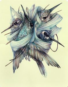 """Marco Mazzoni: """"The Scarf"""" 2014, colored pencils and ink on moleskine paper"""