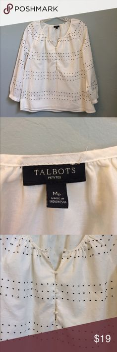Med Petite. Talbots A Classic. Black and cream dotted Swiss on cream peasant style blouse. Talbots Tops Blouses