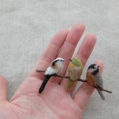 Birds on a branch. Wool Needle Felting, Needle Felting Tutorials, Needle Felted Animals, Wet Felting, Felt Animals, Needle Felted Ornaments, Felt Ornaments, Art Textile, Felt Birds