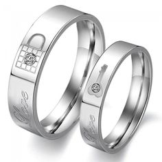 $39.95 FOR TWO http://www.evolees.com/lock-and-key-titanium-steel-promise-rings-for-couple.html Lock And Key Titanium Steel Promise Rings For Couple