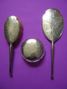Charles s Green Sterling Silver Vanity Dresser Set Brush Mirror Jar 1950s | eBay