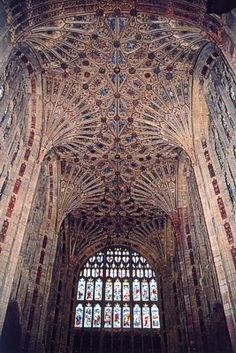 Perpendicular ~ The style we know as Perpendicular Gothic is the final phase of Gothic architecture in England, after the Early English and Decorated periods, and it lasted by far the longest of the three periods, stretching from the late 14th until the early 16th century. The picture shows fan vaulting in the choir of Sherborne Abbey.