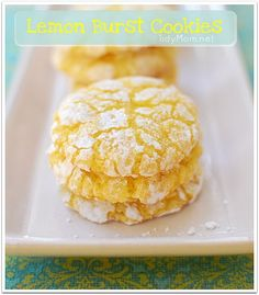 Lemon Burst Cookies made with cake mix    Ingredients    1 box Lemon Cake Mix*  1- 8 oz container Cool Whip  1 egg  1/3 cup powdered sugar (for rolling)  Instructions    Preheat oven to 350°  In medium bowl, beat cool whip, egg and cake mix until well blended. Dough will be thick and sticky.  Drop by teaspoonfuls into a bowl of powdered sugar and