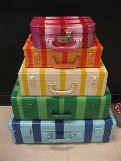 painted suitcases-so cute