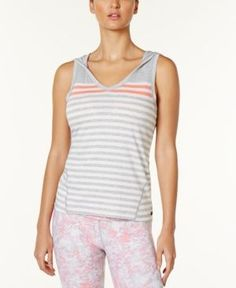 Calvin Klein Performance Hooded Striped Tank Top - Pink XL