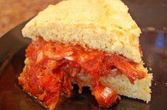 tamale sandwiches on cornbread