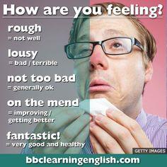 How are you feeling English Advanced English Vocabulary, Learn English Grammar, English Writing Skills, English Vocabulary Words, Learn English Words, English Idioms, English Phrases, English Vinglish, English Tips