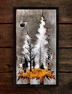 These are three separate pieces that can be purchased as a single or all together at a bundle price. Beginning with the pines, they each measure at and have similar but different fall scenes painted within. The bear measures at and shares Wood Burning Crafts, Wood Burning Art, Wood Crafts, Bear Crafts, Birch Bark Crafts, Paper Crafts, Wooden Art, Wood Wall Art, Easy Woodworking Projects