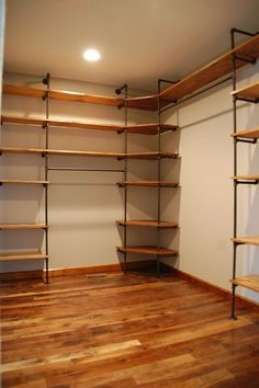 DIY | Industrial style pipe closet shelving. Cost around $500 Master Closet, Closet Bedroom, Diy Walk In Closet, Diy Closet Ideas, Wardrobe Ideas, Man Closet, Garage Closet, Basement Closet, Diy Bedroom, Alternative Outfits, Shelves, Log Projects, Bedrooms, Ideas, Multifunctional Furniture, Industrial Furniture, Houses, Walk In Closet, Cupboard Shelves, Yurts