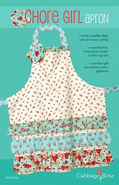 Chore Girl Apron Pattern Cabbage Rose Adult by lilybellesquilts, $9.00
