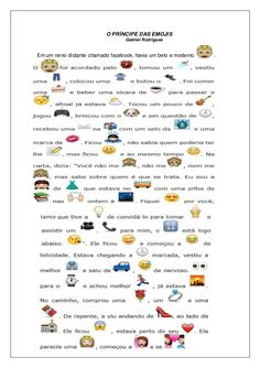 O príncipe das emojis Learn Portuguese, Love Text, Teaching Social Studies, Activities, Education, Learning, Facebook, Languages, Children
