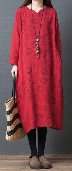 01066ad265879 Women patchwork Cotton tunic pattern Korea Neckline red prints daily Dresses  spring. Omychic Linen Dress