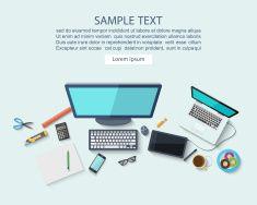 Workplace concept ,Flat design,vector vector art illustration