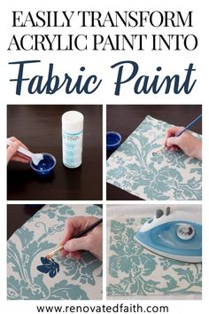 How to Make Acrylic Paint on Fabric Permanent (The Best Fabric Paint) : acrylic paint into fabric paint You can absolutely use acrylic paint on fabric! With this fabric wall art tutorial, I'll show you how to make the best permanent paint for fabric! Best Fabric Paint, Acrylic Paint On Fabric, How To Dye Fabric, Fabric Painting, Diy Painting, Painting Curtains, Dyeing Fabric, Chalk Paint Fabric, Fabric Paint Designs