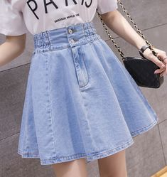 skirt Denim Pleated Skirt Women Plus Size Xxl Summer Skirts Casual Blue Mini Jeans Skirt Vintage Jupe Size S Color deep blue High Waisted Denim Skirt, Denim Skirt Outfits, Pleated Skirt, Mini Skirt, Waist Skirt, Teen Fashion Outfits, Outfits For Teens, Girl Outfits, Teen Girl Fashion