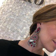 Dori's Hedone earrings, because chic is about being remembered. Soutache Earrings, Clip On Earrings, Women's Earrings, Designer Earrings, Chandelier Earrings, Dory, Shibori, Bridal Collection, Statement Earrings