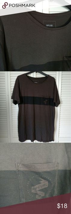 Men's rip curl t shirt wide collar Brown and dark brown stripe men's shirt, never worn.  Wider collar just in case you like that or want the exposed collar bone muscle shirt. Shirts Tees - Short Sleeve
