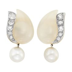 Pair of Platinum, Chalcedony, Diamond and Natural Pearl Earclips, Suzanne Belperron