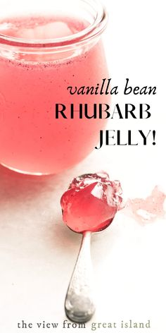 Rhubarb Vanilla Bean Jelly ~ this rhubarb jelly flecked with vanilla bean turns morning toast or a peanut butter and jelly sandwich into a gourmet treat. Rhubarb Jelly, Rhubarb Vanilla Jam, Rhubarb Preserves, Pickled Rhubarb, Rhubarb Butter, Rhubarb Curd, Rhubarb Syrup, Jelly Recipes, Dessert Recipes