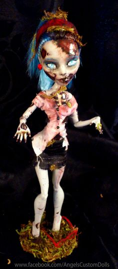"Follow Me on Facebook! www.facebook.com/AngelsCustomDolls  Happy Halloween! In spirit of Halloween, I have repainted Ghoulia as a more ""realistic"" zombie."