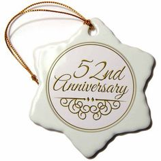 3dRose 52nd Anniversary gift - gold text for celebrating wedding anniversaries - 52 years married together, Snowflake Ornament, Porcelain, 3-inch