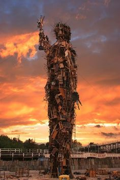 The Margate Man made for aTV Programme designed by Antony Gormley made from rubbish in Dreamland, Margate and set a light, what a waste!