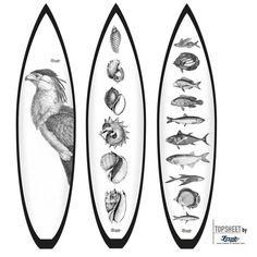 Surfboard design Classic Animals 2 Motivserie Classic Animals  Motive: Bird, Shellfishes, Fishes. Darstellung aus 19th Jahrundert/Holzschnitt.  FleeceOn™ Grafikvlies/Cloth (Vlies läuft übers geamte Board)