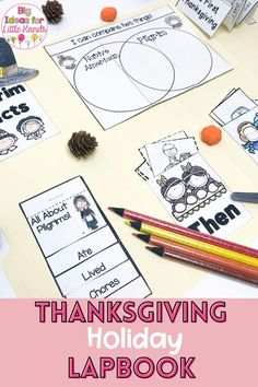 This fun Thanksgiving activity is perfect for teaching students the history of Thanksgiving! They will explore all about Thanksgiving, Pilgrims, and Native Americans in this fun, hands-on, interactive, Flippy Flap Lapbook! From vocabulary, science, writing prompts and more, this Flap Lapbook is ideal for PreK, Kindergarten, and First grade students. #thanksgiving #flipbooks #elementary