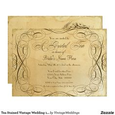 Tea Stained Vintage Wedding 1 - Bridal Tea Party Card