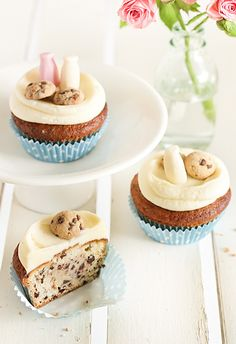 Milk & Chocolate Chip Cookie Cupcakes http://thecupcakedailyblog.com