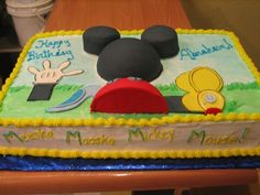 Mickey Mouse Sheet Cake | ... mickey mouse if chocolate cake with fondant. I wanted the cake to look