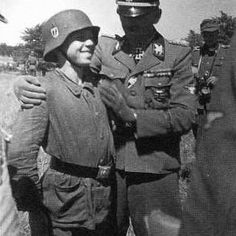 Artur Phleps and a young Bosnian Waffen SS volunteer