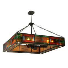 60 Inch Sq Hausman Mission Chandel-air - Custom Made Ceiling Fan Globes, Glass Ceiling, Ceiling Fixtures, Ceiling Lights, Ceiling Fans, Light Fixtures, Custom Lighting, Lighting Design, Tiffany Ceiling Fan