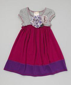 Look at this #zulilyfind! Magenta & Gray Flower Babydoll Dress - Girls by Pink Vanilla #zulilyfinds