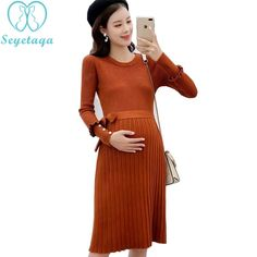 f09149d8d0002 US $26.96 |6979# Beading Ties Waist Slim A Line Knitted Maternity Dress  Autumn Winter Korean Fashion Clothes for Pregnant Women Pregnancy-in Dresses  from ...