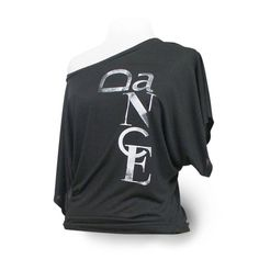 "Flowy Dance Top ""Dance"". Black dance shirt with wide short sleeves.  Great for ballet, jazz, lyrical, tap, class or rehearsal."