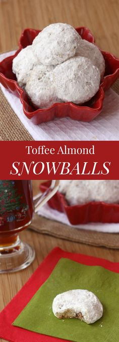 Toffee Almond Snowball Cookies are buttery, nutty, crumbly cookies with bits of toffee, double-rolled in powdered sugar. Get your coffee cup ready! Snowball Cookies, Yummy Cookies, Holiday Cookies, Cupcake Cookies, Holiday Treats, Holiday Recipes, Cupcakes, Christmas Recipes, Spritz Cookies