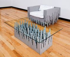 This futuristic living room set was designed by the Benjamin Rollins Caldwell, an American artist best known for his one-of-a kind pieces and custom projects that use everyday objects and materials to create unique pieces of furniture.
