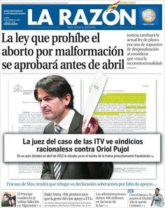 Los Titulares y Portadas de Noticias Destacadas Españolas del 14 de Enero de 2013 del Diario La Razón ¿Que le parecio esta Portada de este Diario Español?