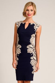 Paper Dolls Navy and Cream Crochet Lace Panel Dress £58
