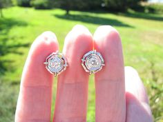Stunning Art Deco 18K Gold Diamond Stud Earrings  by Franziska, $850.00