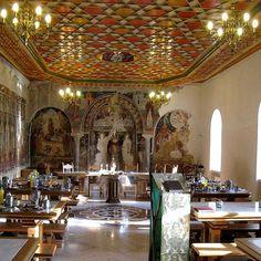 The refectory (trapeza) of Pantokratoros monastery, Mount Athos, Greece   by Herman Voogd