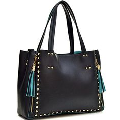 Dasein Faux Leather Studded Tote Bag with Tassels Cute Tote Bags, 2 In, Tassels, Shoulder Bag, Handbags, Leather, Totes, Shoulder Bags, Hand Bags