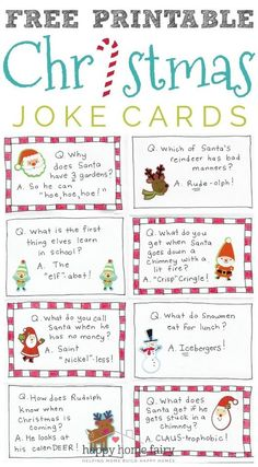 - Happy Home Fairy Christmas Joke Cards - FREE Printable! - Happy Home Fairy,Christmas Joke Cards - FREE Printable! - Happy Home Fairy, Personalized Scrabble Letter Ornaments- cute . Christmas Jokes For Kids, Christmas Party Games, Funny Christmas Cards, Christmas Activities, Christmas Humor, Holiday Fun, Christmas Holidays, Christmas Crafts, Christmas Fairy