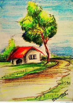 Crayon painting of a hut Pastel Artwork, Oil Pastel Paintings, Oil Pastel Art, Oil Pastel Drawings, Small Drawings, Indian Art Paintings, Art Drawings For Kids, Colorful Drawings, Watercolor Pencil Art