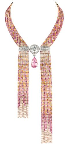 Boucheron Mosaique Delilah morganite, diamond and colored sapphire necklace.