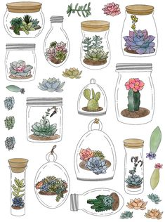 Bullet Journal Art, Bullet Journal Ideas Pages, Bullet Journal Inspiration, Junk Journal, Printable Planner Stickers, Journal Stickers, Scrapbook Stickers, Printables, Plant Art