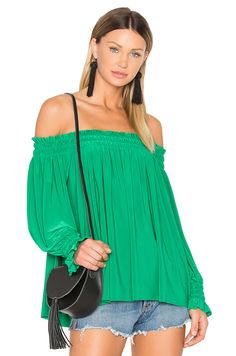 9794015d28 Norma Kamali Peasant Top in Kelly Green Top Clothing Stores, Norma Kamali,  Tee Dress