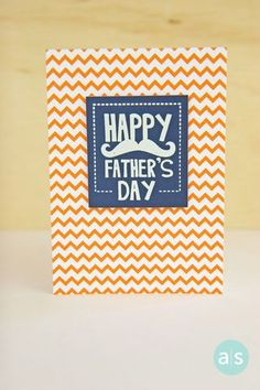 Clean and simple Father's Day card with a little white embossing on Navy cardstock mounted on A Muse Studio's Orange Chevron cardstock.  Easily change it up with different color combos! Follow us @A Muse Studio for fun card ideas for all occasions, holidays and celebrations! #cardmaking #amusestudio #fathersday #cleanandsimple #cas